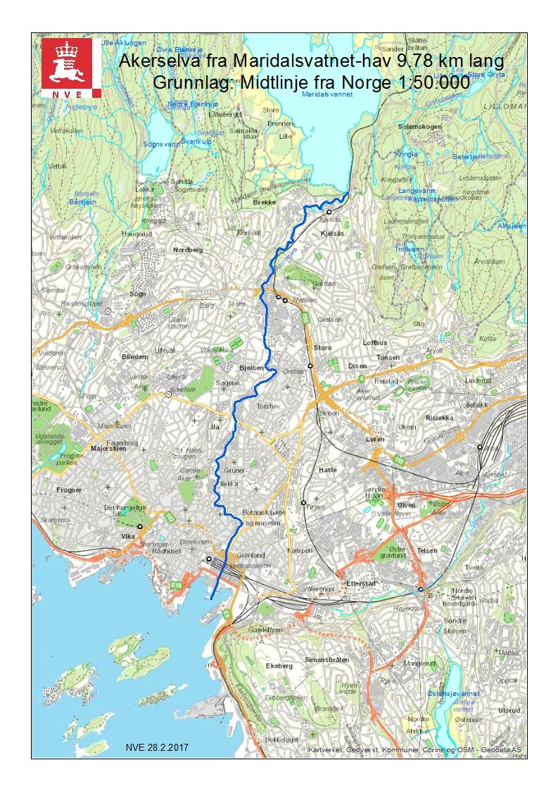 akerselva vandring kart 1,6 km av Akerselva sporløst forsvunpå Sagene  akerselva vandring kart