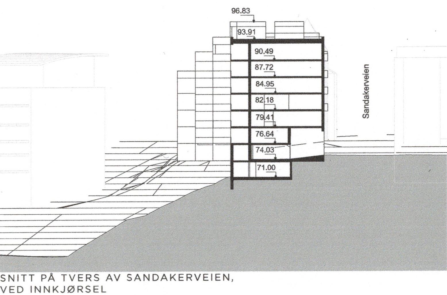 Sandakerveien 52 - Snitt på tvers av Sandakerveien