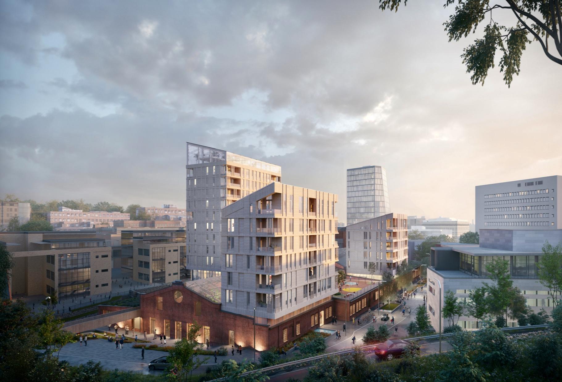 Redskapsfabrikken med tre høye boligtårn