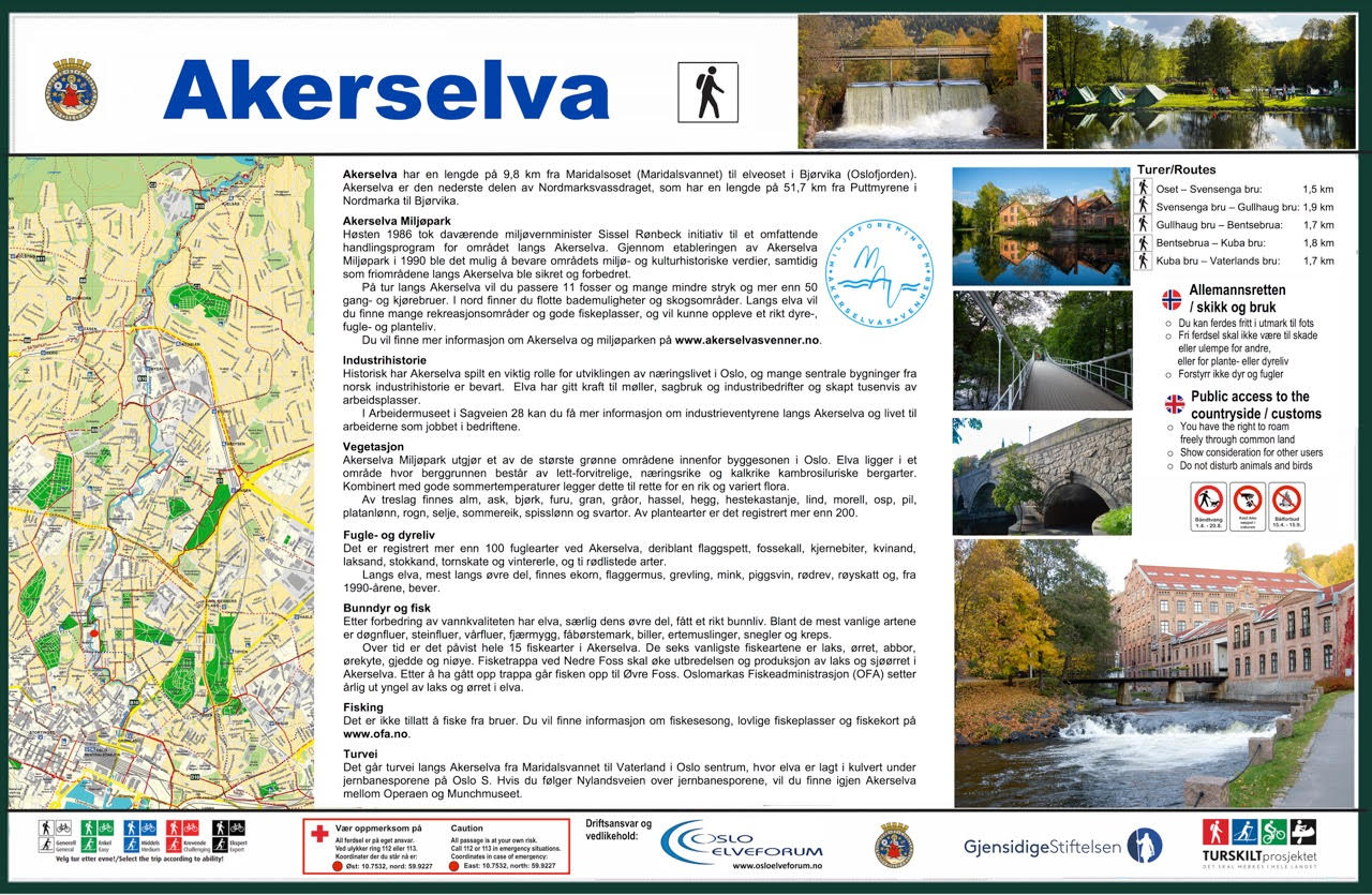 Tekst og bidler i informasjonstavlen om Akerselva
